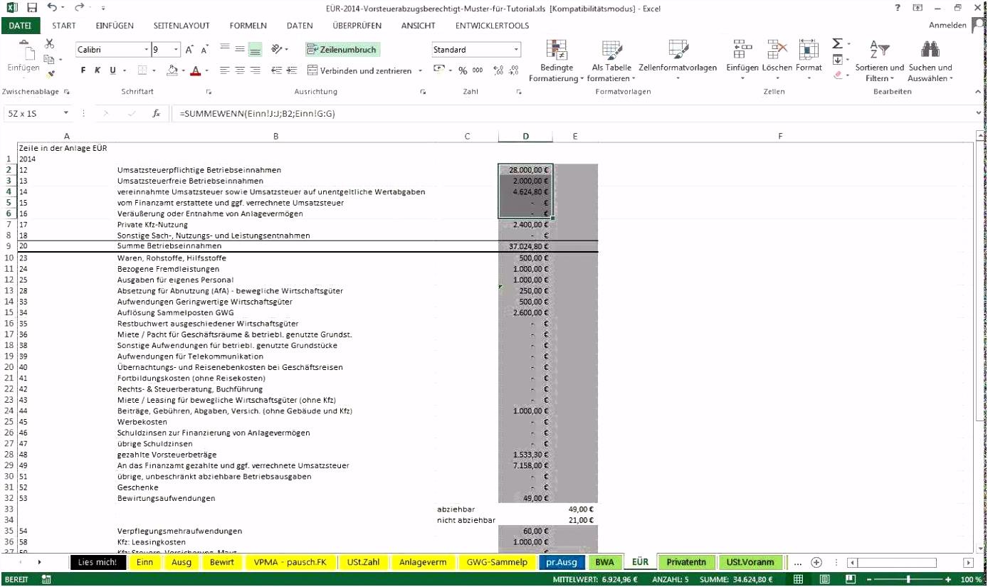 8 Einnahmen Ausgaben Rechnung Excel Vorlage