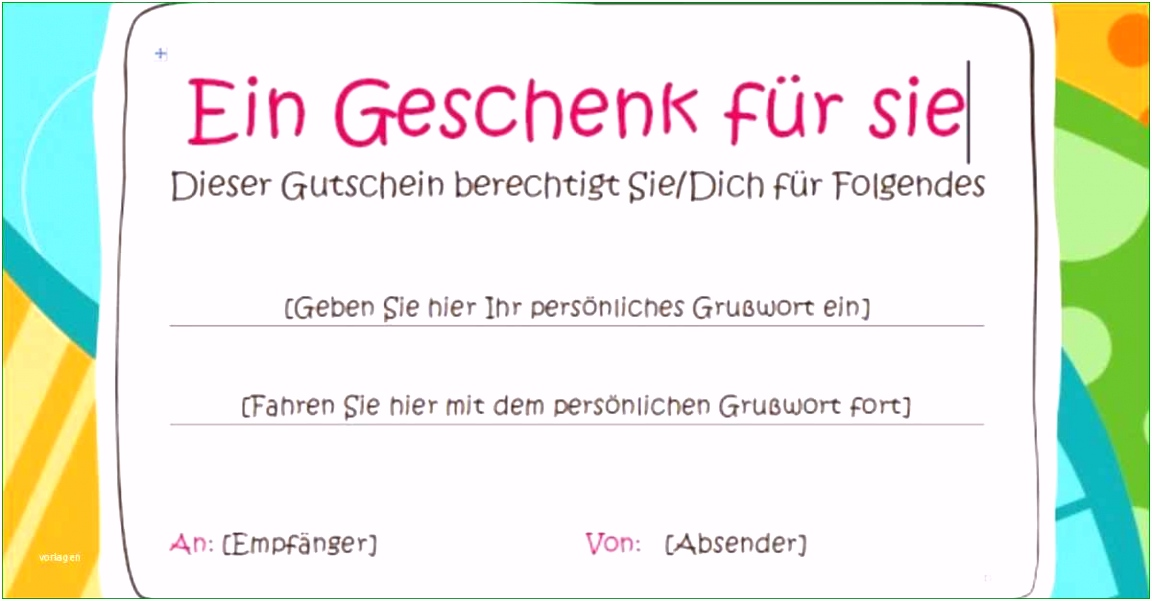 Sensationell Gutschein Schreiben Vorlage 2019