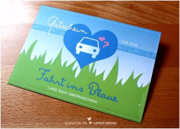 """Gutschein Postkarte für """"Eine Fahrt ins Blaue"""" überrasche den"""