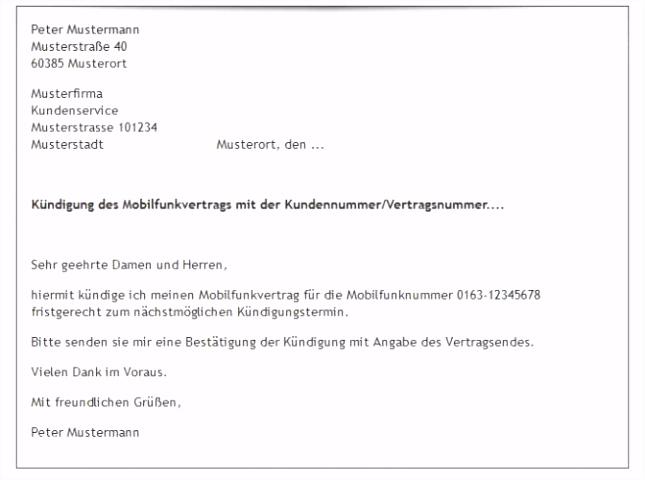 Vodafone Kündigung Muster — Rulmeca Germany