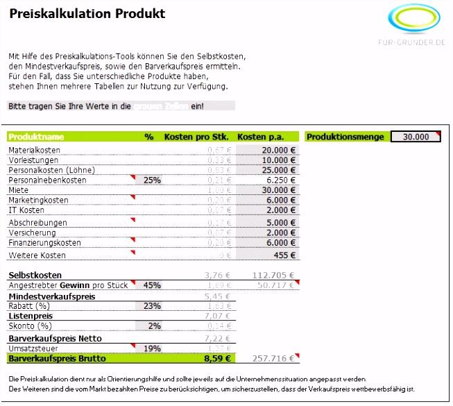 Kalkulation Verkaufspreis Excel Fotografie 57 Schön Sammlung