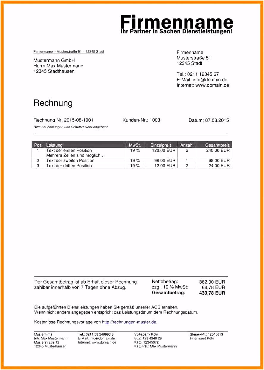 11 Süß Excel Vorlage Rechnung Kleinunternehmer Galerie