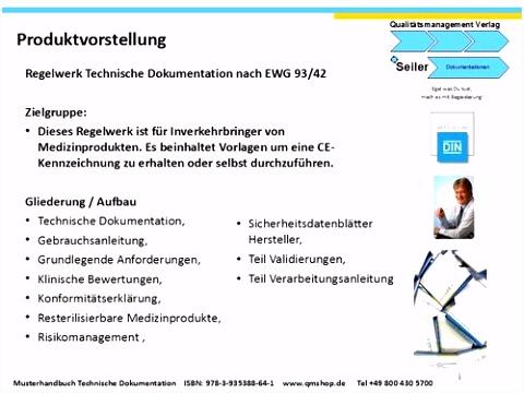 Vorlagen nach der EWG Richtlinie 93 42 Technische Dokumentation