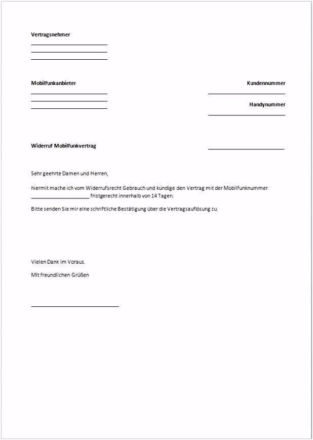 15 kündigung handyvertrag vorlage word