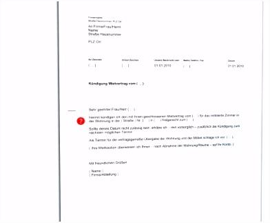 Akzeptabel 1 Kündigung Vordruck Kündigung Schreiben