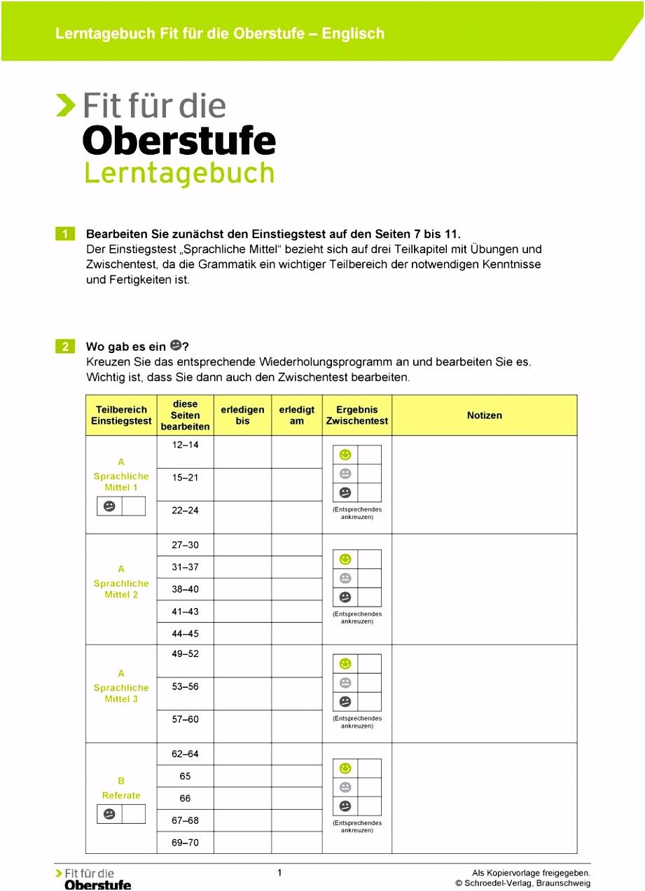 Lerntagebuch Fit für Oberstufe Englisch PDF