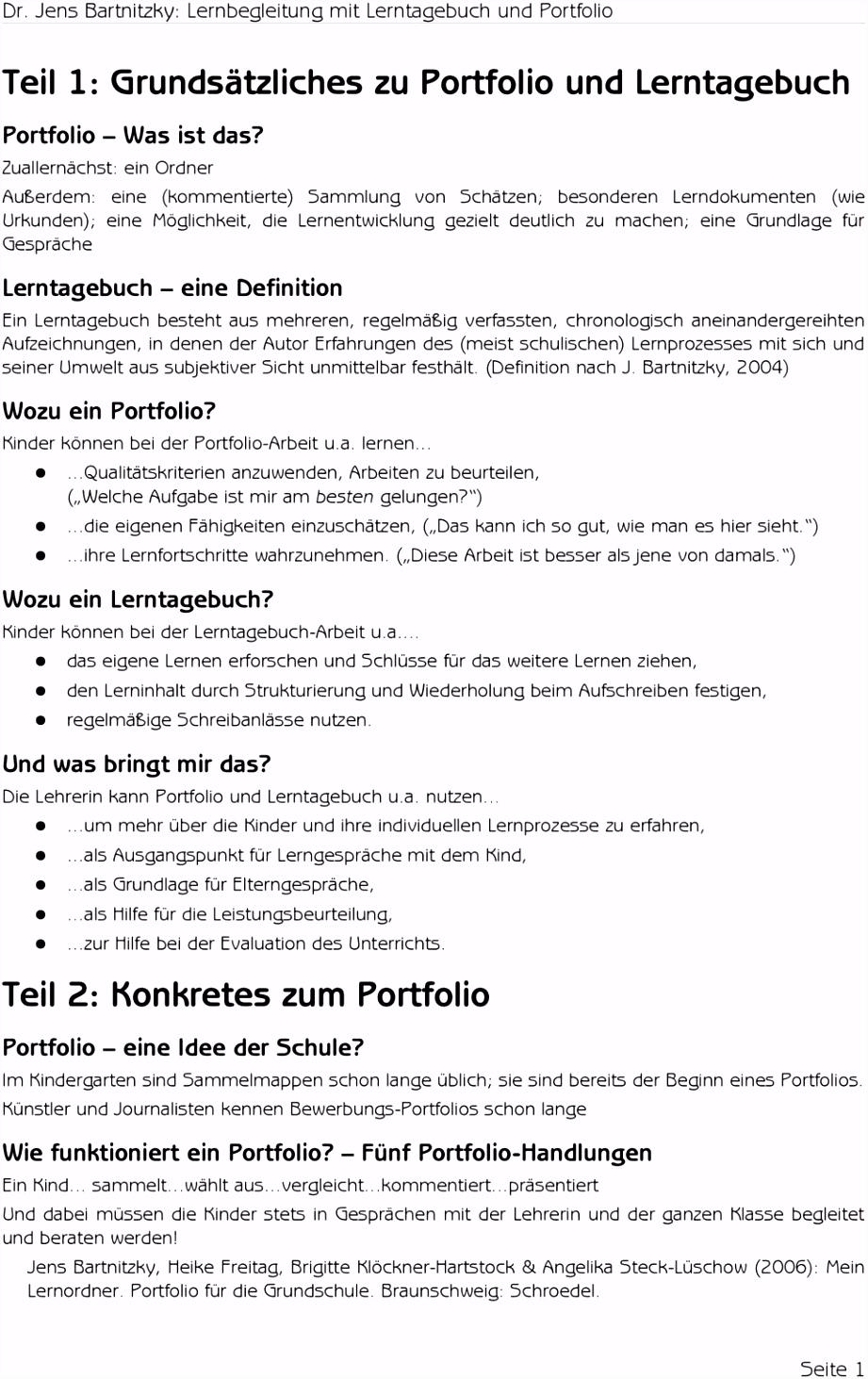 Teil 1 Grundsätzliches zu Portfolio und Lerntagebuch PDF