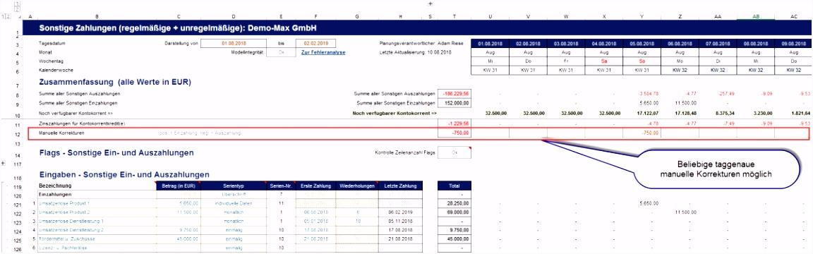 Wirtschaftsplan Muster Excel Excel Liquiditätsplanung Premium