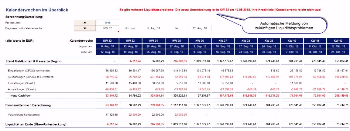 Excel Liquiditätsplanung PREMIUM