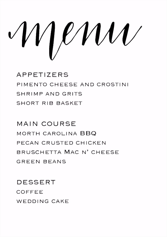 Wedding Reception Menu Template By Buffet – reagano