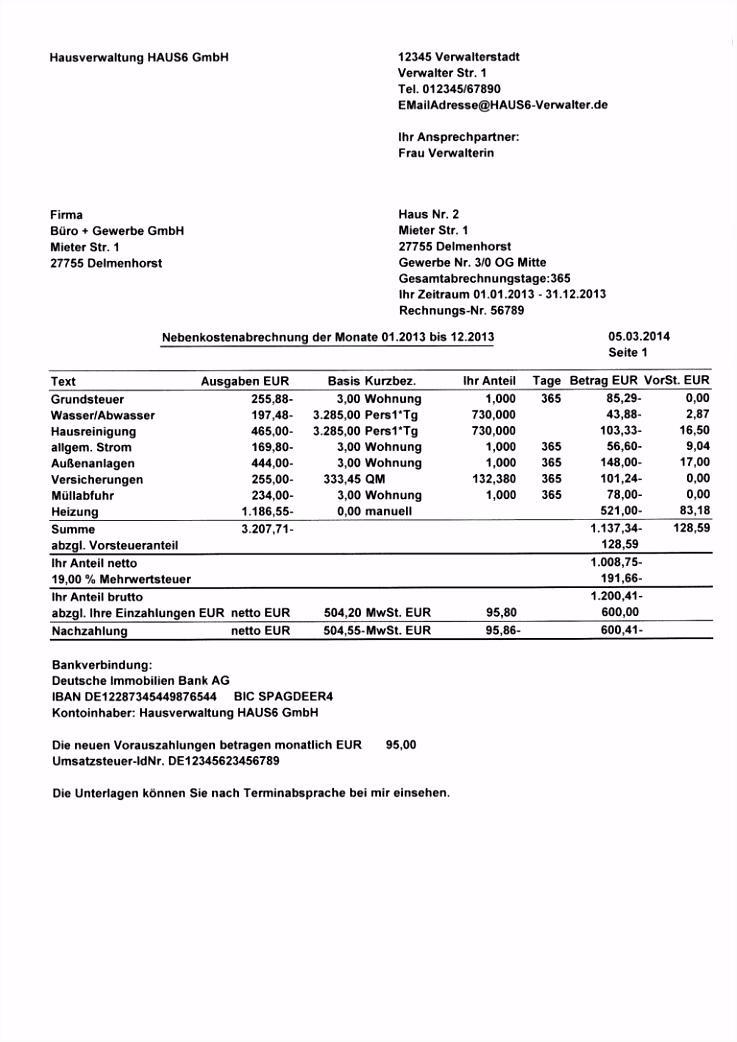 Vorlage Nebenkostenabrechnung Excel Kostenlos Dann Vorlage