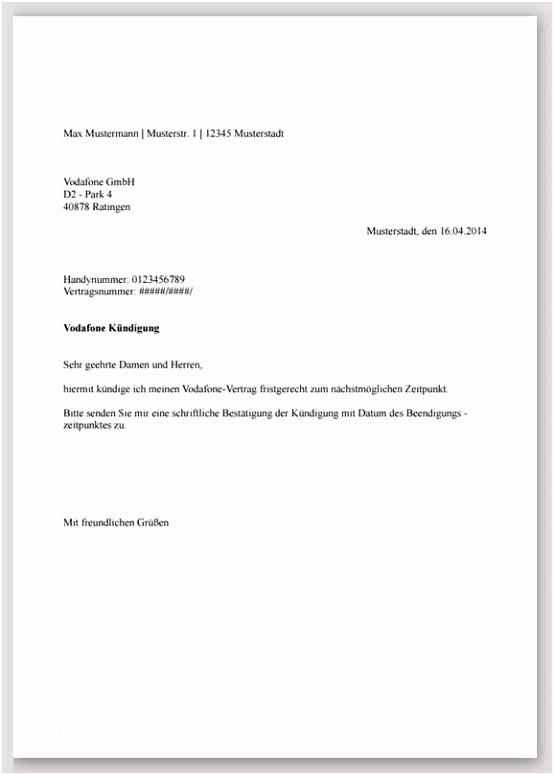 Einfach Praktisch Kündigung O2 Vorlage Kündigung Schreiben des