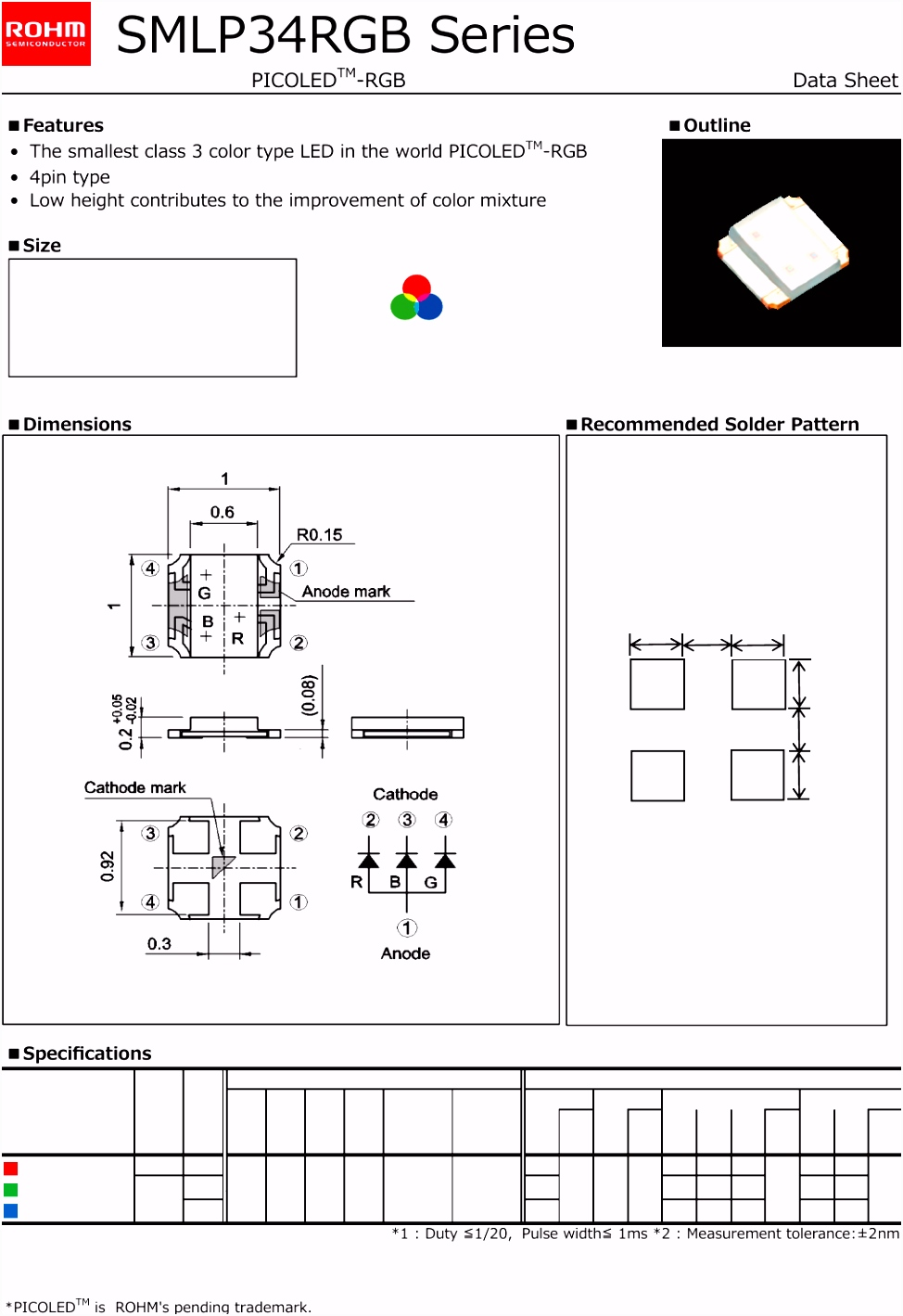 SMLP34RGB Series Datasheet Rohm Semiconductor