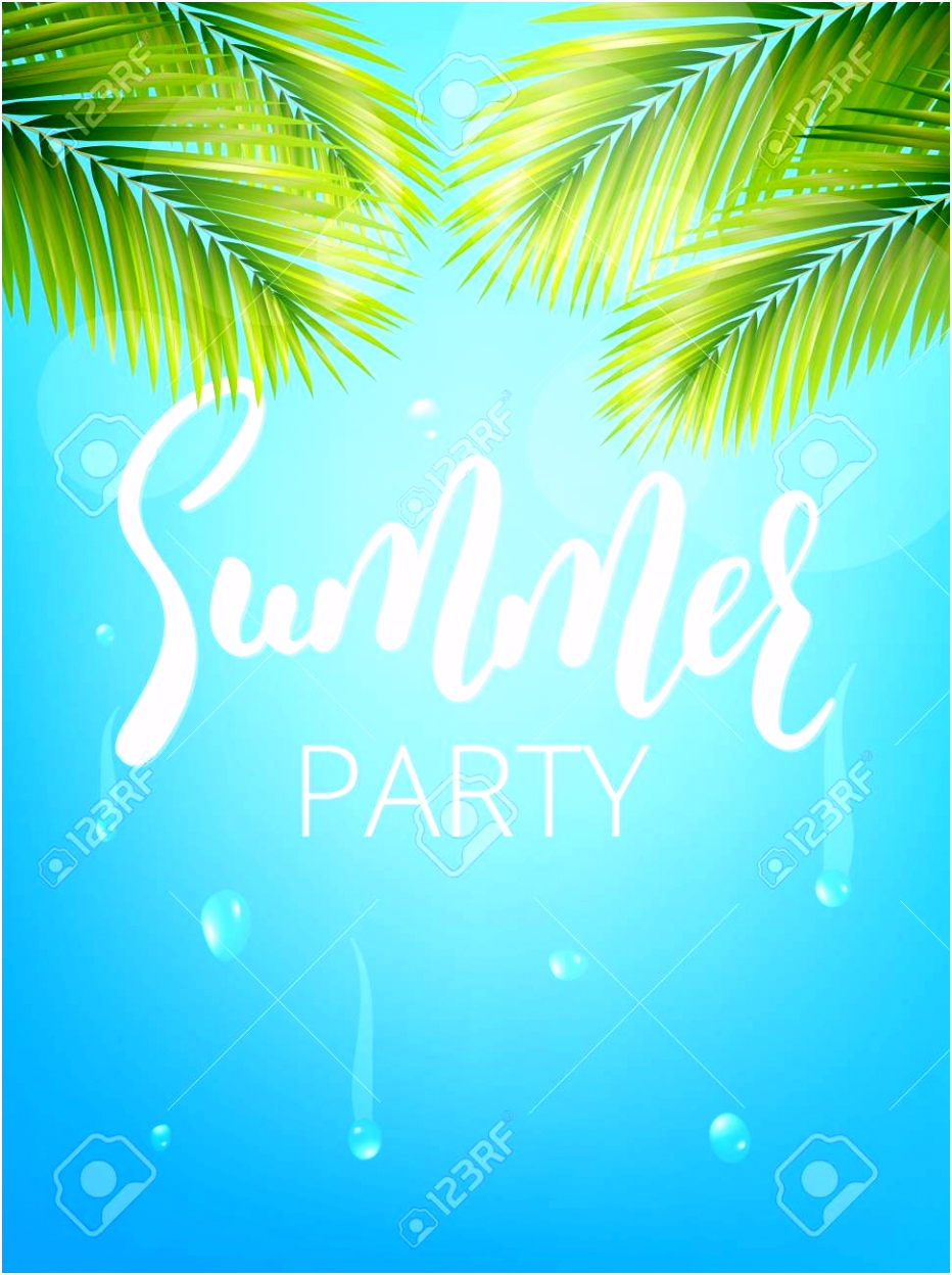 Summer Party Poster Summer Vector Illustration With Palm Leaves