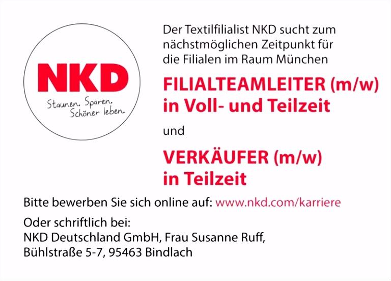 Stellenmarktstellenangebote Oder Schriftlich Bei Nkd Deutschland
