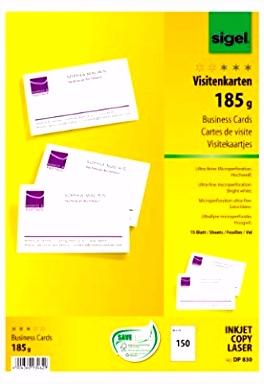 Sigel DP830 Visitenkarten hochweiß 150 Stück 15 Blatt 185 g