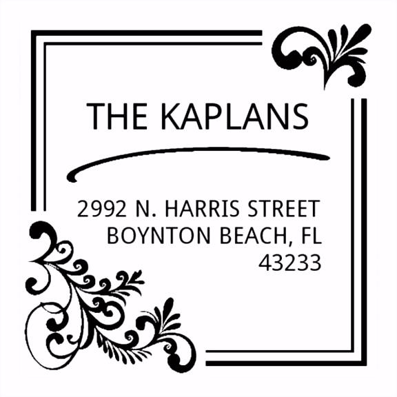 Monogrammstempel quadratisch Adresse mit elegantem Design