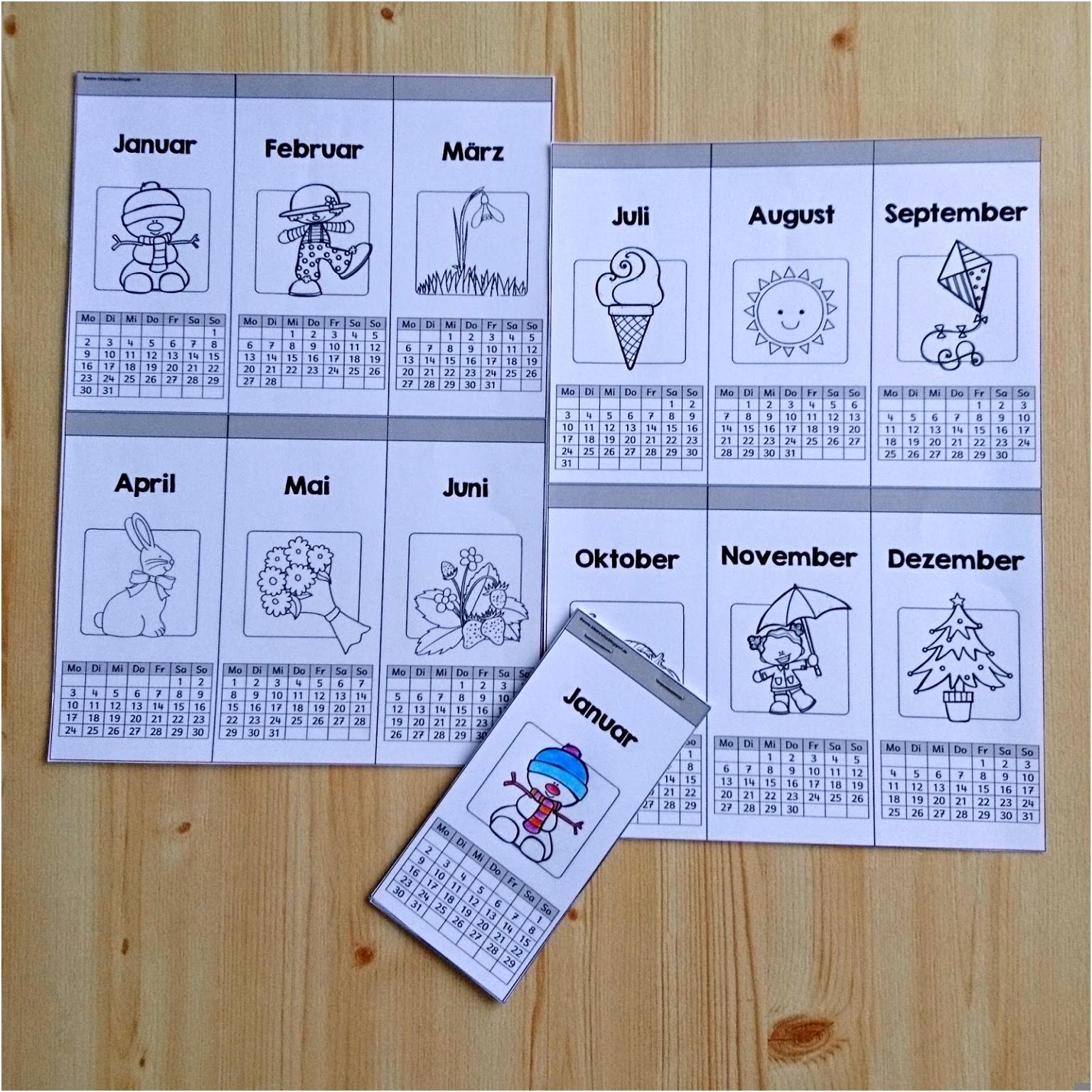 Kalender Basteln Englisch