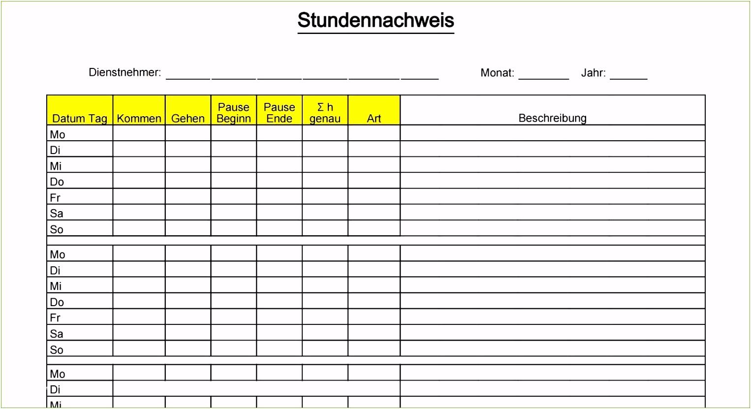 53 Lernplan Vorlage Excel
