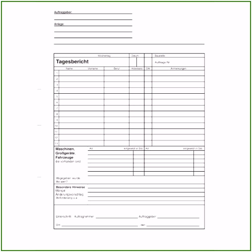 Tagesbericht Vorlage Phänomenal formularblock Tagesbericht