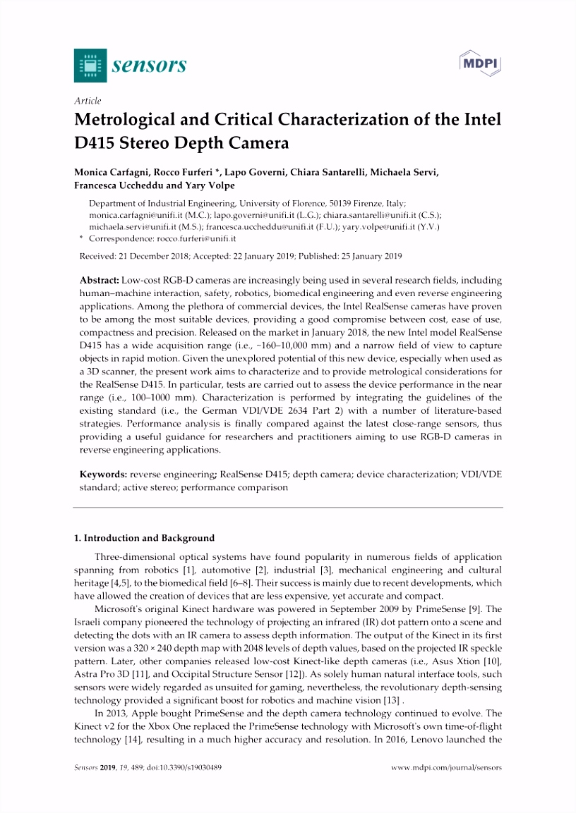 PDF the Performance of the Intel SR300 Depth Camera