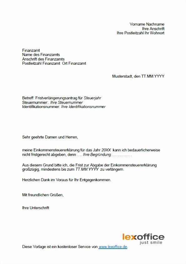 Fantastisch Briefvorlage Fristverlängerung Finanzamt Ideen