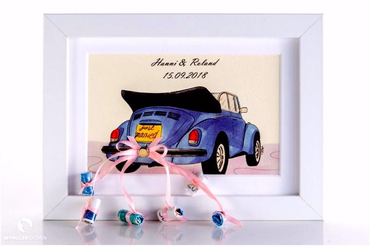Geldgeschenk zur Hochzeit Rahmen mit Bild Auto
