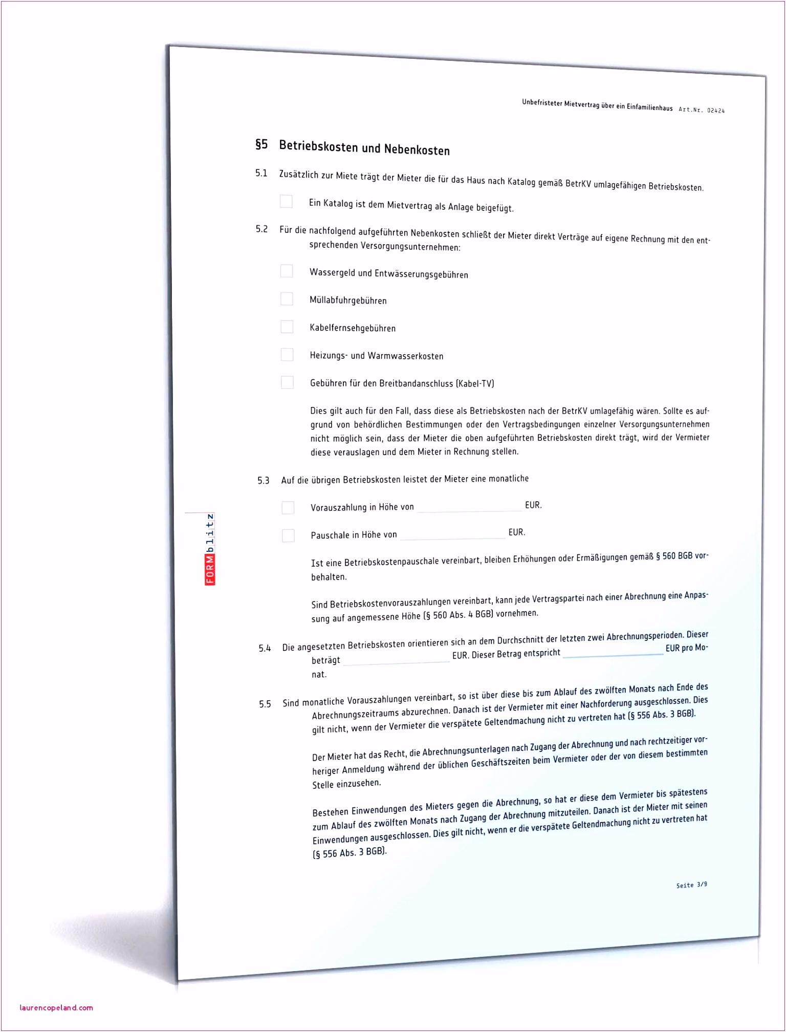 Haus Und Grund Mietvertrag Vorlage Nebenkostenabrechnung Haus Und