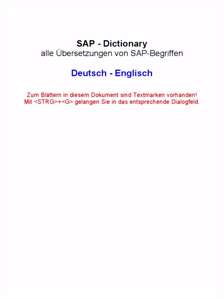 SAP Dictionary German English