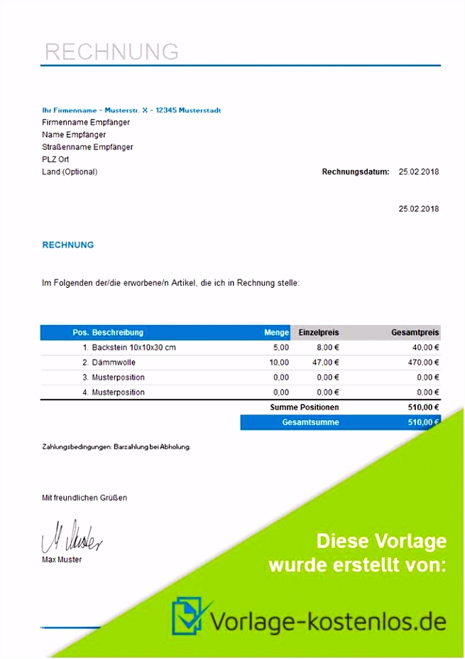 Vorlage Rechnung Excel Erstaunliche Rechnungsvorlage Kostenlos Word