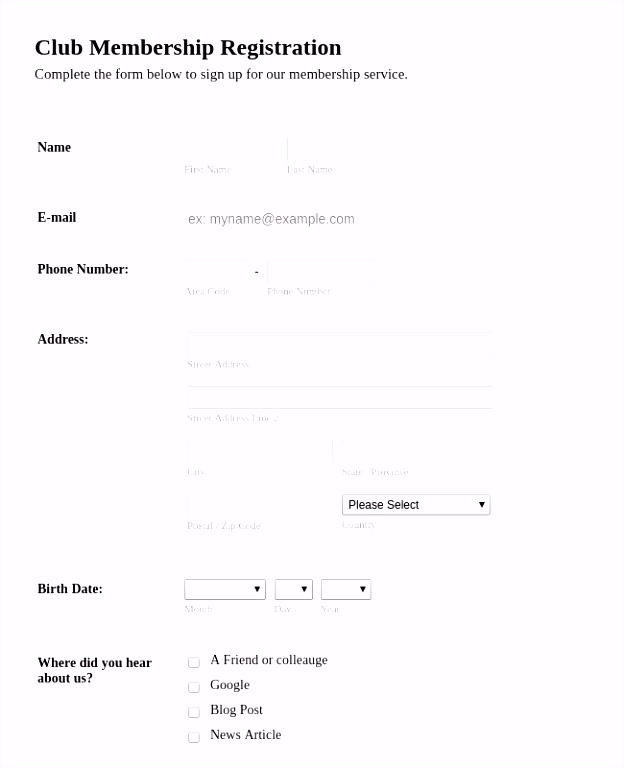 Membership Forms Form Templates
