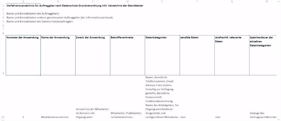 Verfahrensverzeichnis Vorlage Einfach Neues Verfahrensverzeichnis