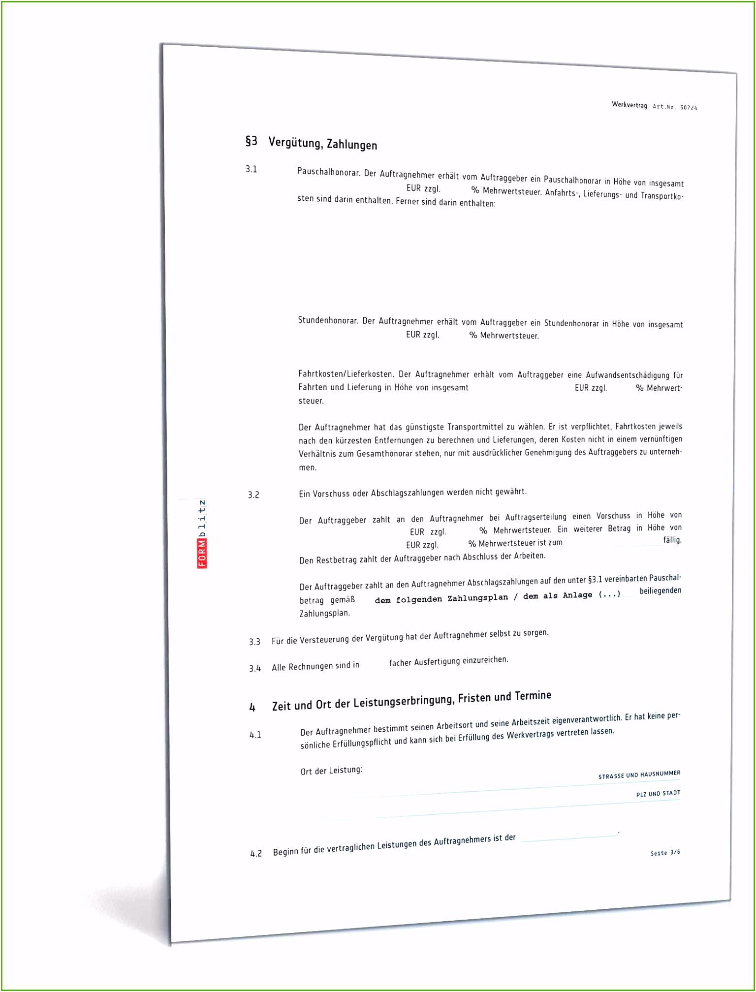 Werkvertrag Vorlage 16 Vision 2019