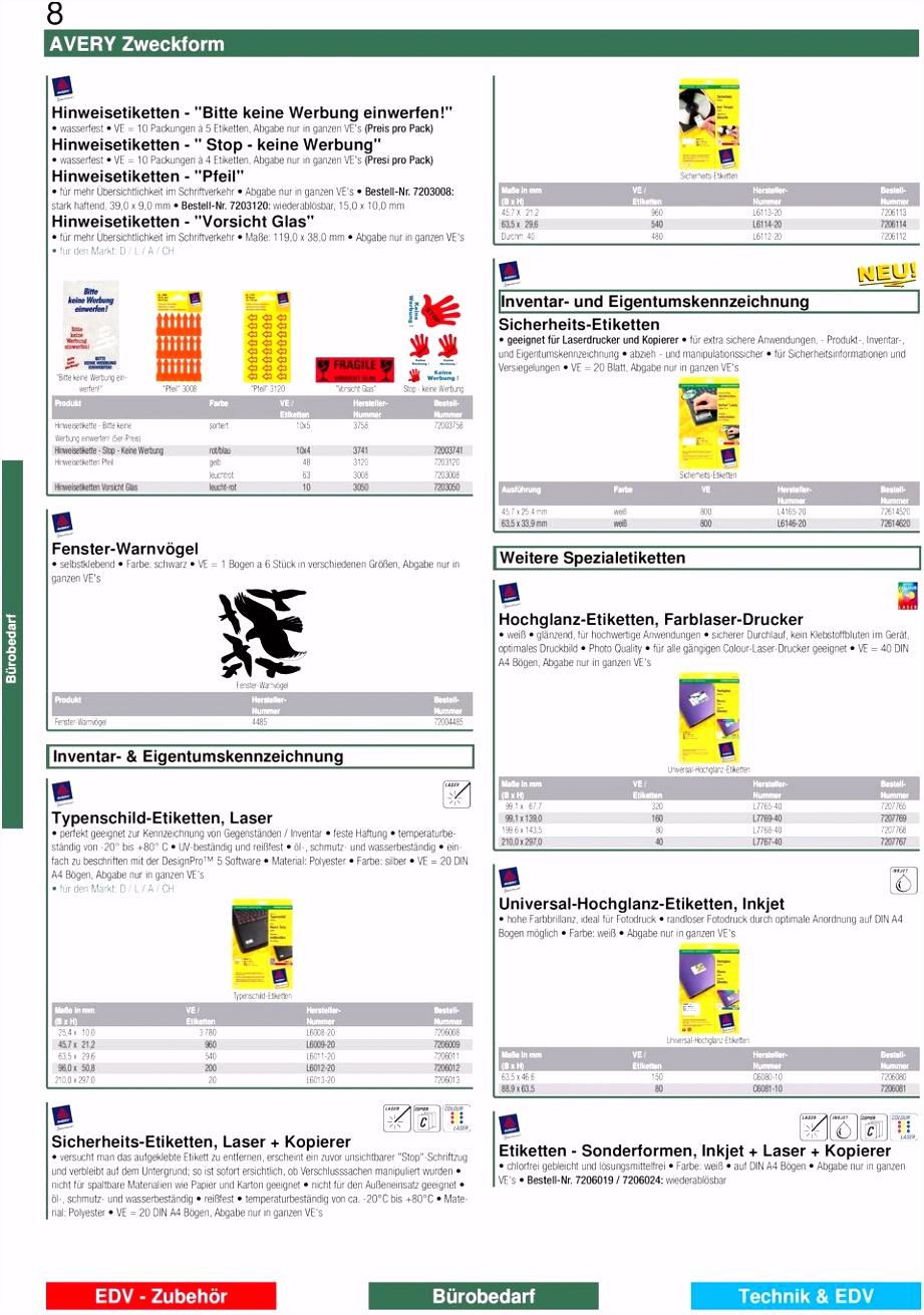 AVERY Zweckform Etiketten PDF