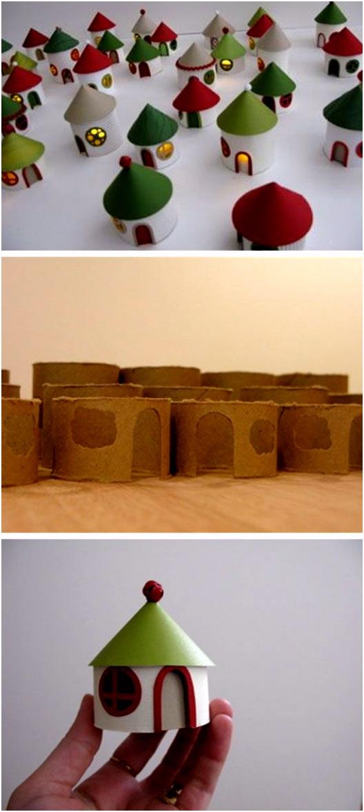 DIY vánočn Village od toliet rolls