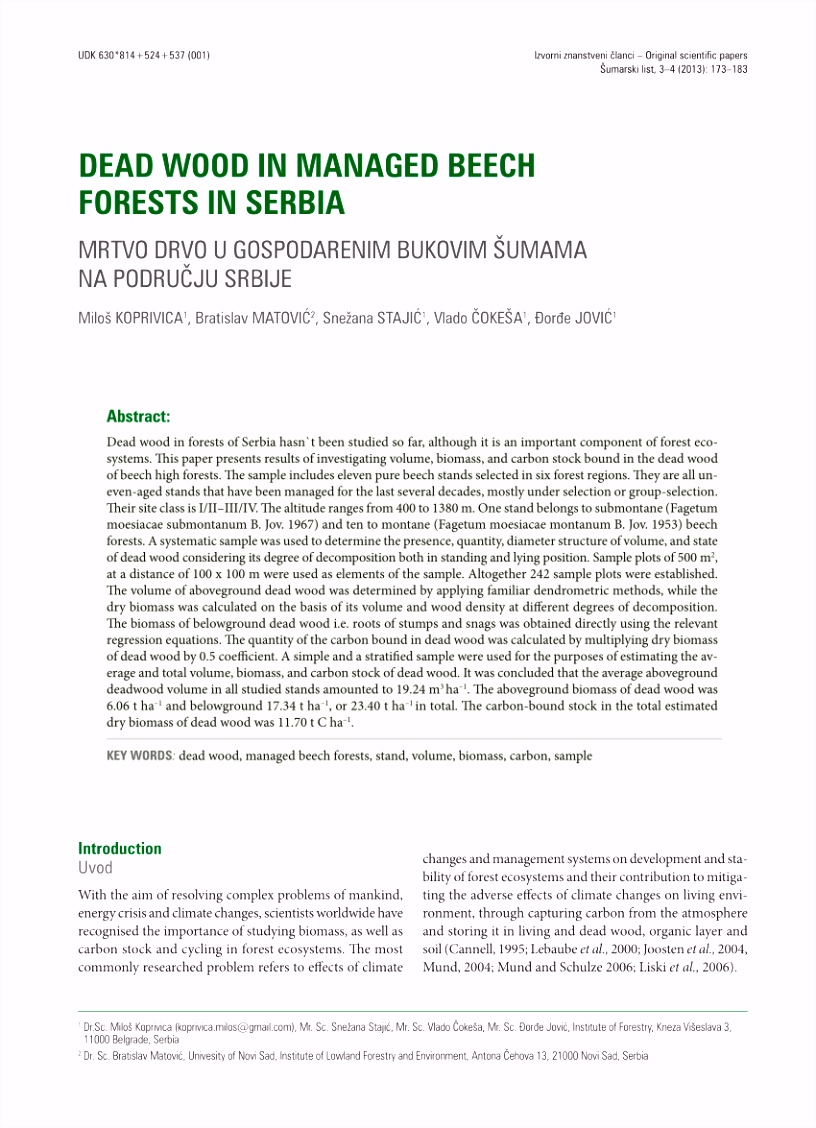 PDF Estimates of biomass and carbon stock in uneven aged beech