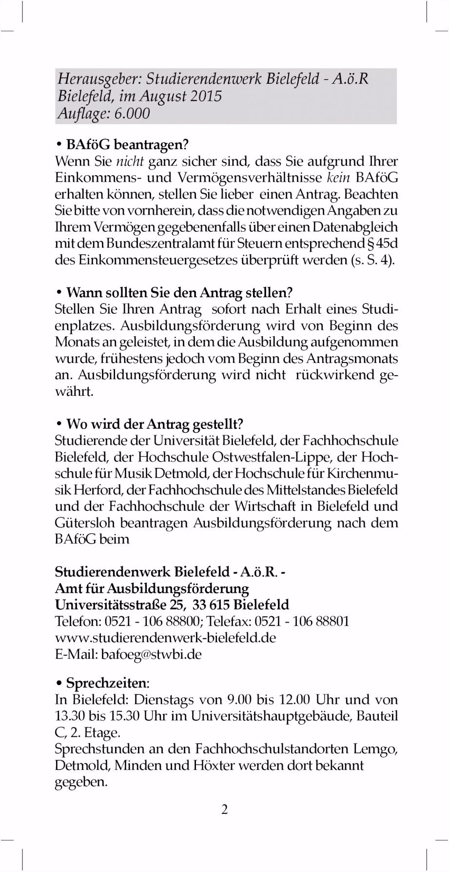 Herausgeber Stu rendenwerk Bielefeld A ö R Bielefeld im August
