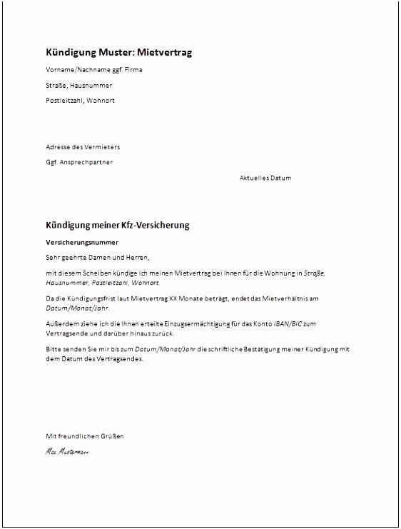 200 Großartig Kündigung Mietvertrag Vermieter Vorlage Pdf 2019