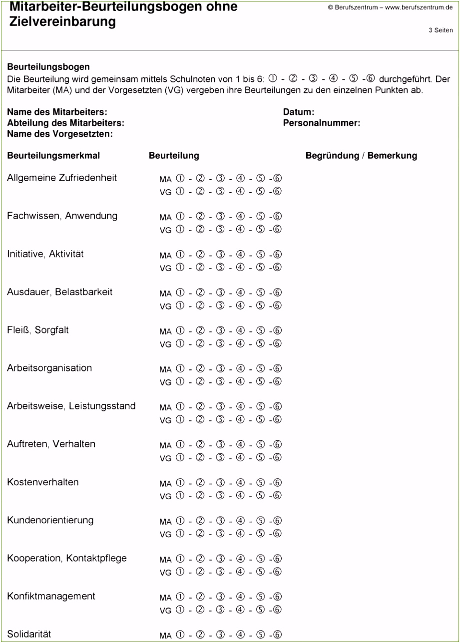 Mitarbeiterbeurteilungsbogen Vorlage 26 Hübscher Abbildung Sie