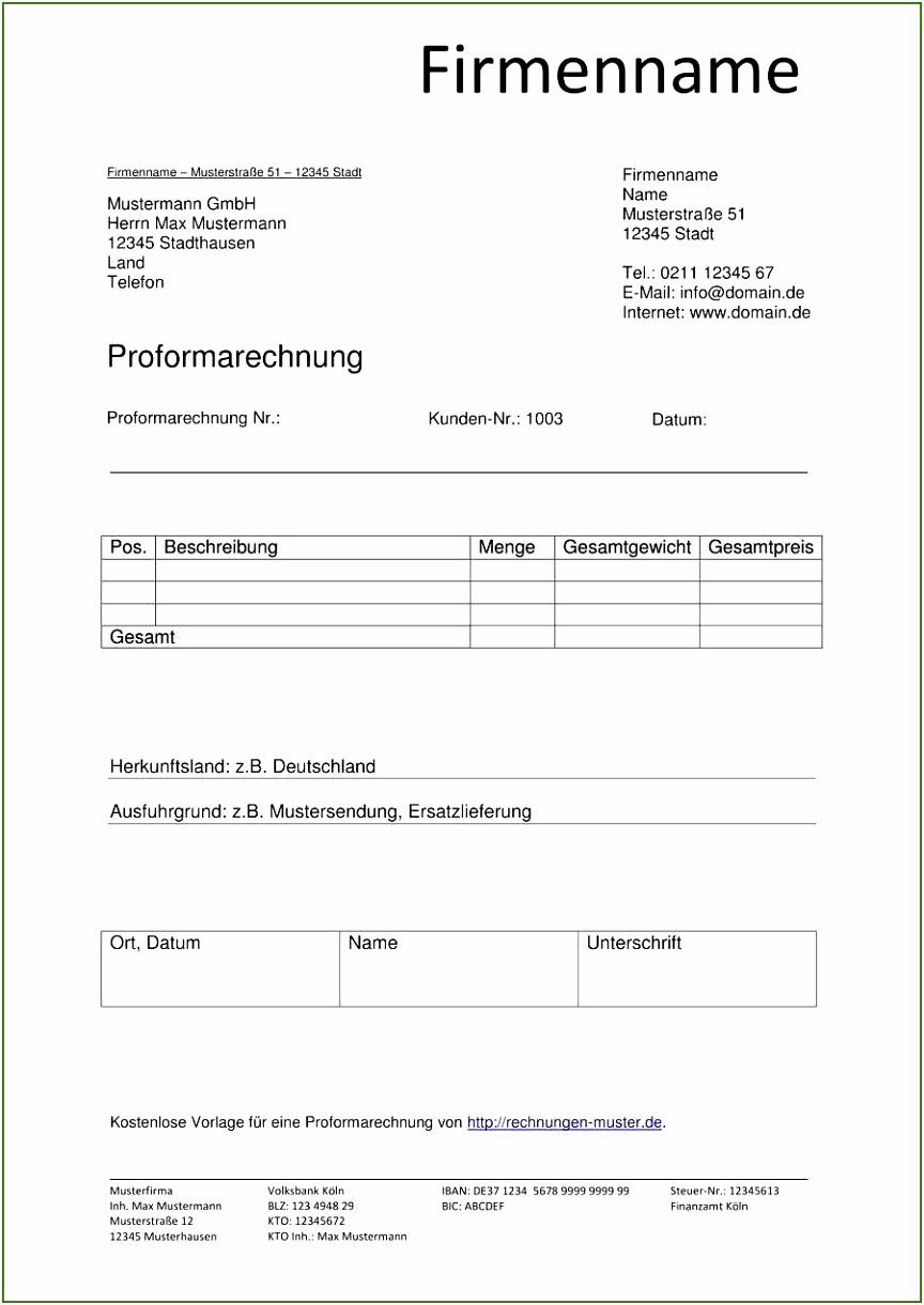 Rechnung Vorlage Schockieren Proforma Rechnung Vorlagen & Muster