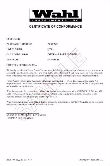 Certificate Conformity Template Certificate Conformity Form Ce