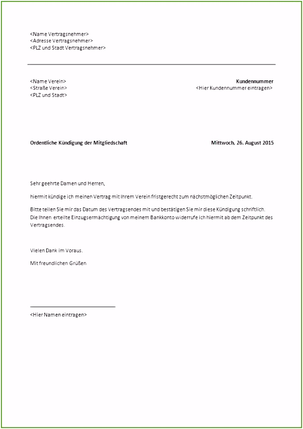 15 Inspiration Kündigung Mietvertrag Vorlage Mieterbund Abbildung