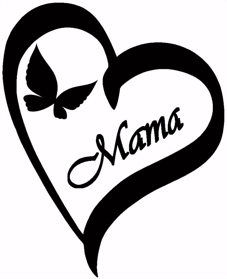 Ein schönes Herz mit Schmetterling und dem Text Mama als Vorlage für