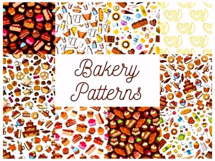 Bäckerei Konditorei Desserts Skizze Von Süßigkeiten Kuchen Und