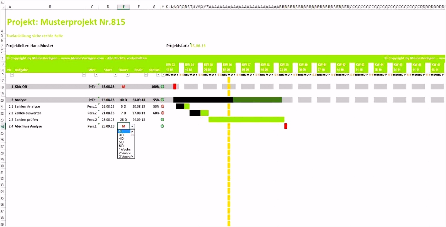 15 Schönste Vorlage Projektplan Excel Foto
