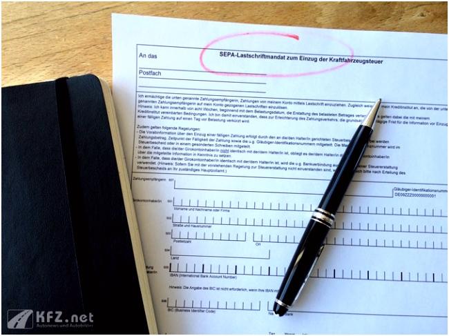 SEPA Lastschriftmandat zum Einzug der Kraftfahrzeugsteuer und Kfz