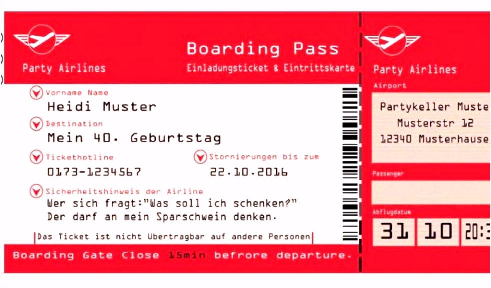 Einladung Flugticket Vorlage Kostenlos Genial Einladungskarten