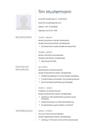 Tabellarischer Lebenslauf Muster Vorlagen Lebenslaufdesigns De